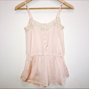 Tops - Light pink camisole with lace and button detail