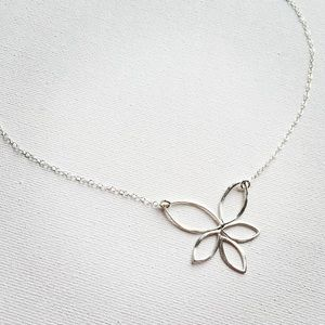 Lotus Marquise Matte Sterling Silver Necklace