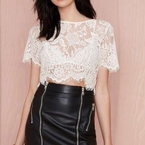 Nasty Gal Tops - Ivory Lace Crop Top
