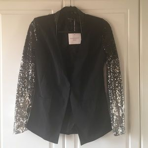 Blazer with sequin arms