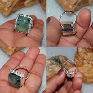 handmade & handcrafted gemstone jewelry Jewelry - Prehnite Statement Ring Size 8