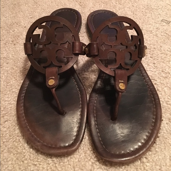 7957ff314c6a9 Tory burch chocolate brown Miller sandals Sz 10. M 571055f9ea3f36c419006eeb