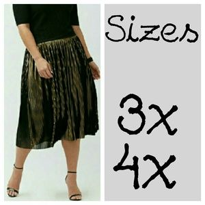 GOLD PLEATED MIDI SKIRT plus size gold black
