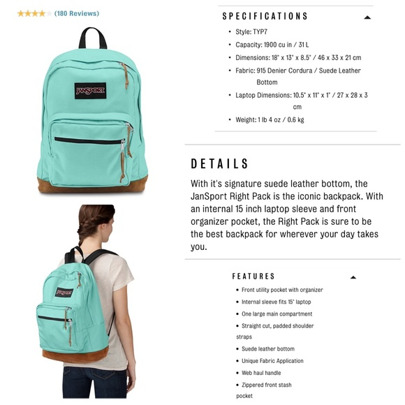 40% off Jansport Handbags - Tiffany Blue Jansport Backpack from ...