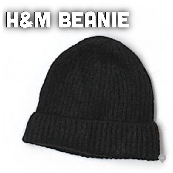 4a0d1b8d5 Black Beanie H&M AND PATCH Knit Woven Yarn Soft