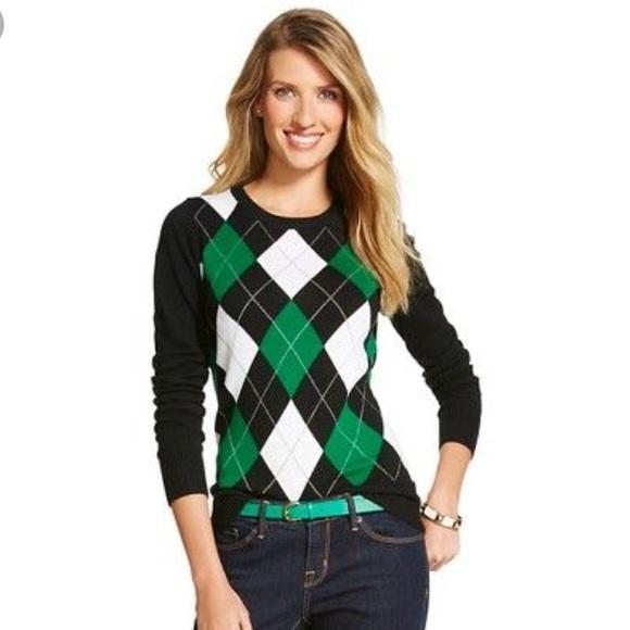 Merona Sweaters - Merona Pullover Sweater - Green Argyle