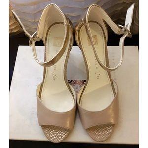 """Anne Klein Shoes - Anne Klein """"Opalize"""" Gold and Beige Heels"""