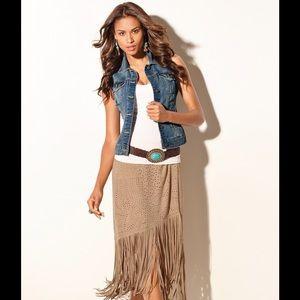 Dresses & Skirts - Tan Fringe Skirt NWT