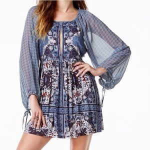 FREE PEOPLE BLUE FLORAL DRESS NWT