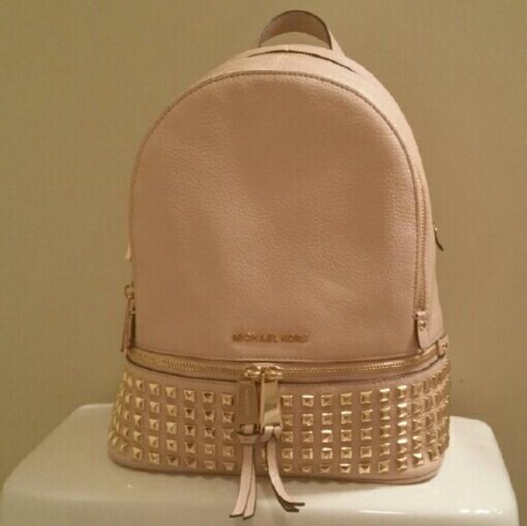 e81843c1aae1 Michael Kors Bags | Nwt Mk Studded Rhea Backpack Ballet Size Medium ...