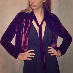 Reformation Jackets & Blazers - Reformation Burgundy Velvet Crop Bolero Jacket