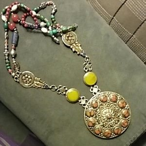 African semi precious stone and metal necklace