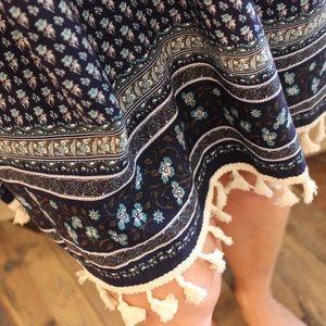 Dresses - Navy printed off the shoulder dress