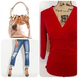 Ann Taylor Tops - Red V-Neck Top❤️