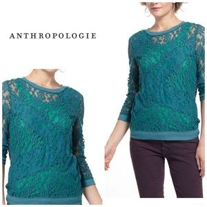 Anthropologie Tops - Anthropologie Patchwork lace pullover - emerald