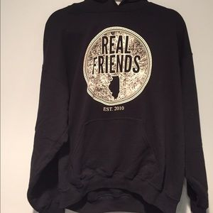 Tops - Real Friends band navy hoodie
