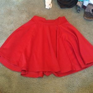 Red silky skater skirt!
