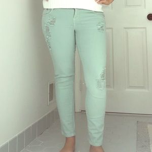 Vanilla Star Denim - Vanilla Star mint colored ripped jeans