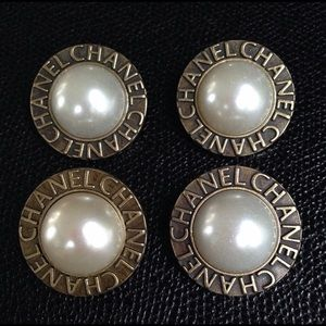 """Chanel Faux Pearl Buttons, Set of 4. Size 1.15"""""""