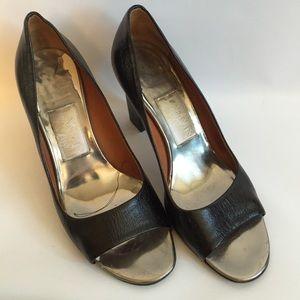 LANVIN black leather peep toe pumps block heel 37