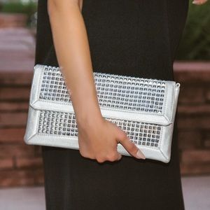 Handbags - Silver Studded Clutch with Shoulder Chain