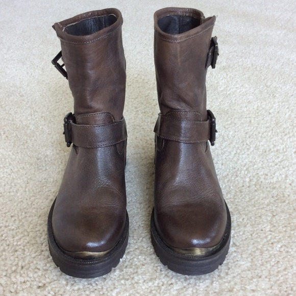 50 boutique shoes brown leather moto boots from
