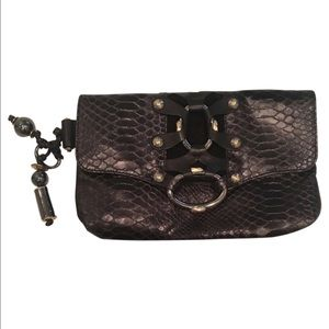 henri bendel Handbags - Henri Bendel Black Leather Skin Clutch