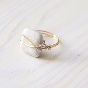 White Howlite Wire Wrapped Ring
