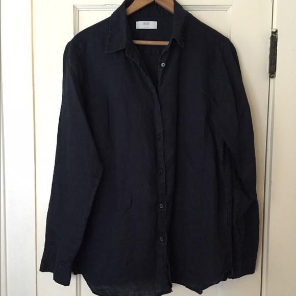 49% off UNIQLO Tops - Uniqlo Black Linen Button Down Shirt from ...