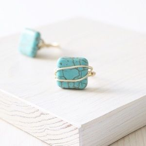 Faux Turquoise Magnesite Wire Wrapped Ring