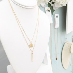 LucyMint Jewelry - Layered Bar & Circle 14k Gold Filled Necklace Set
