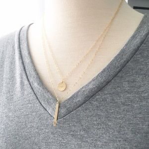 Layered Bar & Circle 14k Gold Filled Necklace Set