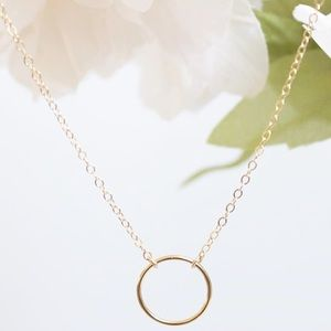 Halo Circle Gold Filled Necklace
