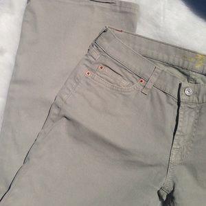 7fam light sage green/ khaki jeans