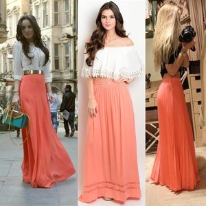 Incredible Long Coral Maxi Skirt