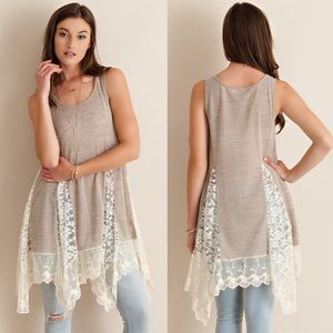 1 HR SALECHARLOTTE lace tunic top - SAND
