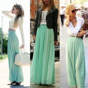 Sage Long Boho Maxi Skirt
