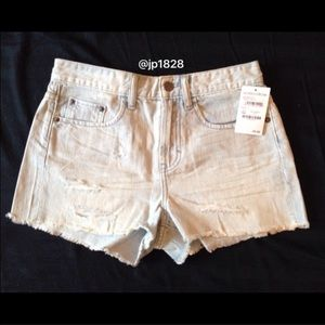 bp Pants - Distressed High Rise Demin Short-Smokey Blue