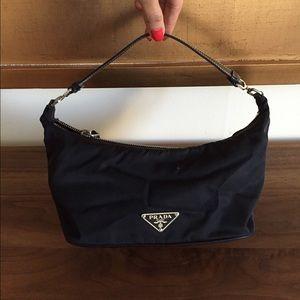 Prada nylon shoulder bag.  Black