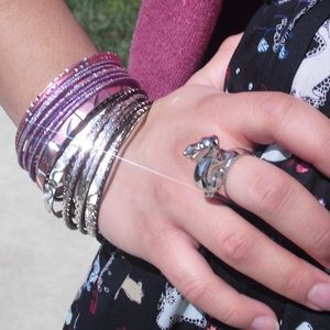 Forever 21 Purple, Pink Silver Bangles