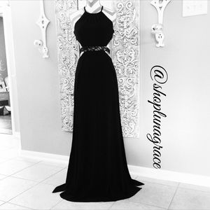 Morgan & Co. Dresses & Skirts - 💄HP💄WG Long Black Open Halter Dress