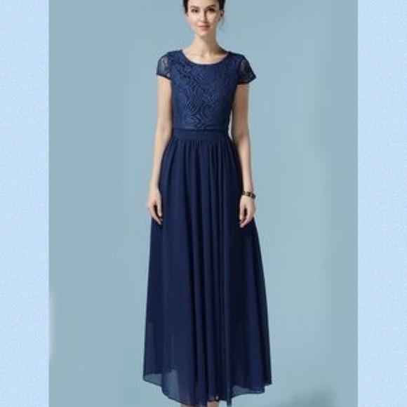 Short sleeve chiffon maxi dress