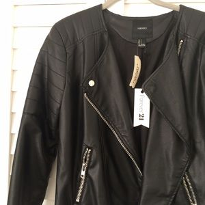 Black faux leather jacket size small