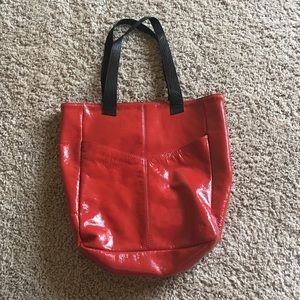 Red leather shoulder tote