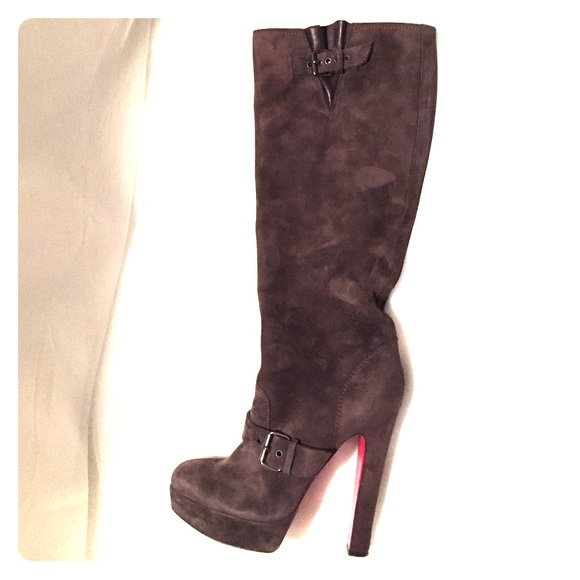 f696f40da7db Christian Louboutin Shoes - Christian Louboutin Brown Suede Knee High Boots