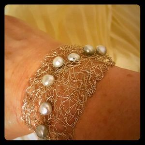 NWOT Sterling Silver Bracelet with cultured pearls