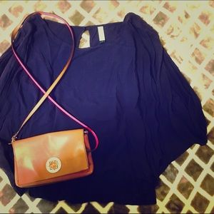 JALOUX Navy Blouse with Open Sleeve