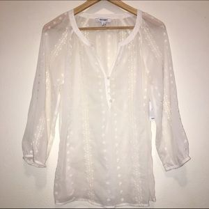Tops - Sheer white, top with 3/4 length sleeves.