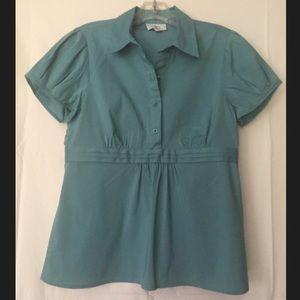 LOFT 4-button, cap sleeve blouse w/ empire waist