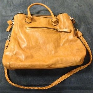 Cognac bag with gold hardware